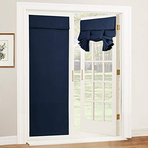 RYB HOME Blackout Door Curtains - Self Sticky Tricia Window Door Shades Thermal Insulated Light Block French Door Curtain Energy Efficient Double Door Blind, W 26 x L 69 inches, Navy, 1 Panel