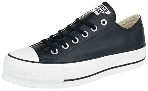 Converse Chuck Taylor CTAS Lift Clean Ox, Zapatillas Mujer, Negro (Black/Black/White 001), 39 EU