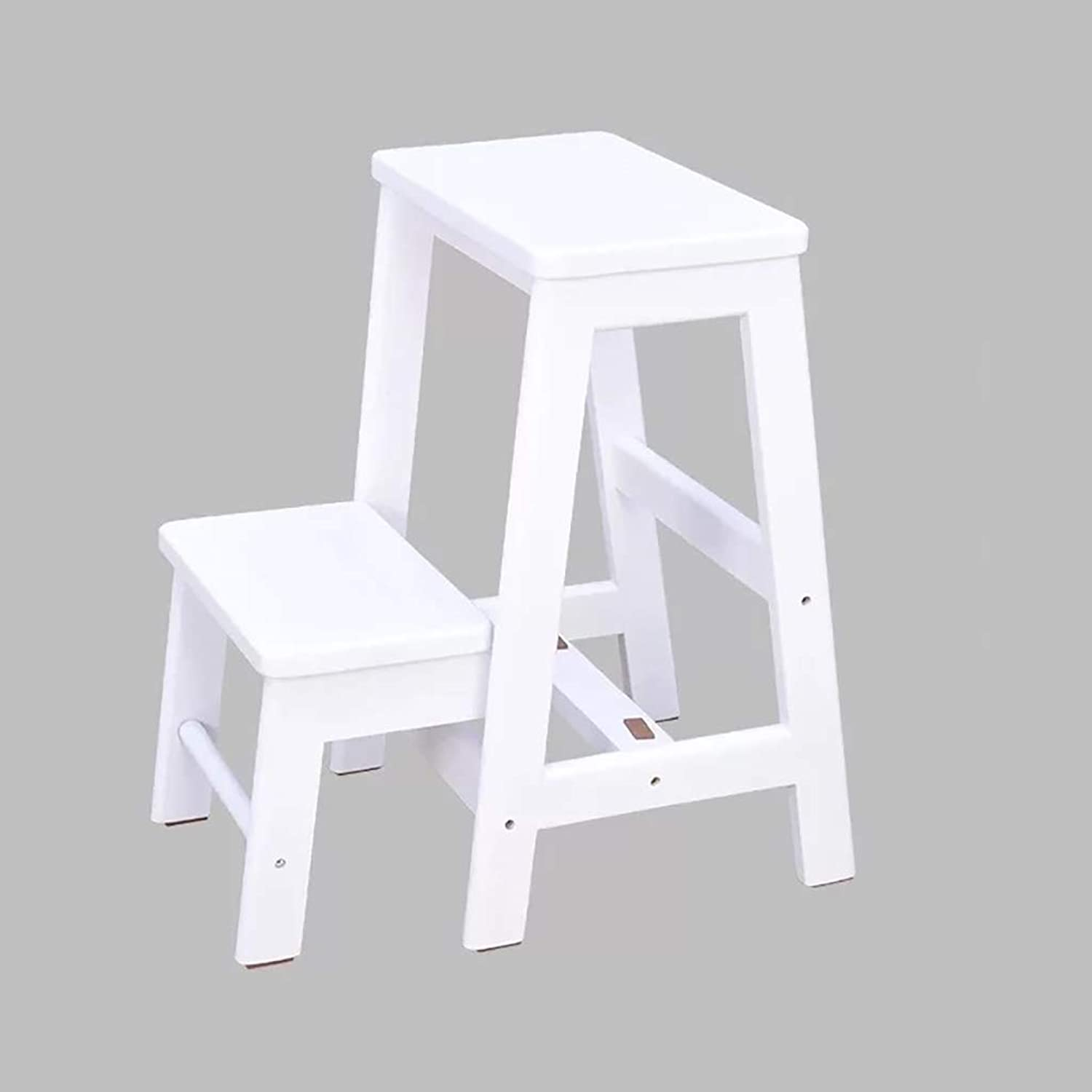 LYJBT Solid wood step ladder Folding 2 steps Wooden ladder portable chair home stair chair ladder widening stool for climbing