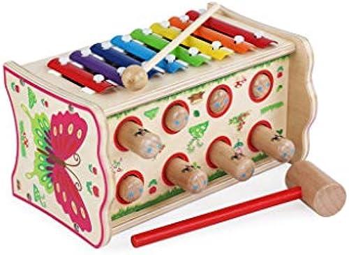 HXGL-Klopfen Sie am Klavier Kinder massives Holz klopft Klavier 2-3 Jahre alt Puzzle Junge mädchen frühe Bildung Spielen Hamster Spielzeug (Farbe   Blau)