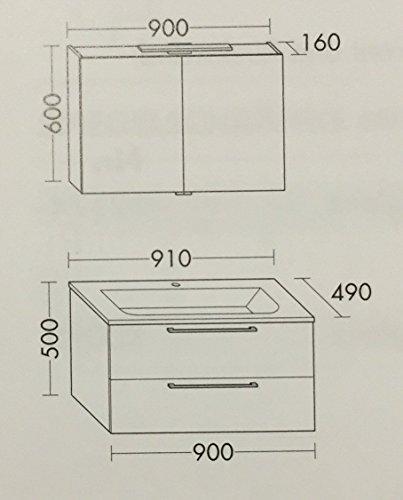 Burgbad Set mit Waschtisch 91cm mit Unterschrank und Spiegelschrank