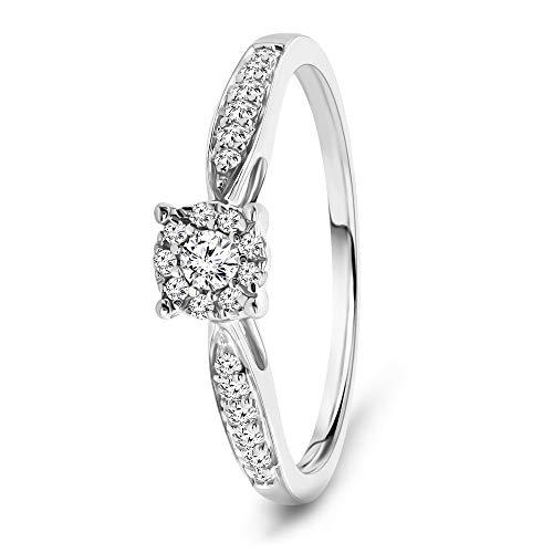 Miore Ring Damen 0.20 Ct Diamant Verlobungsring aus Weißgold 9 Karat / 375 Gold, Schmuck mit Diamanten Brillanten