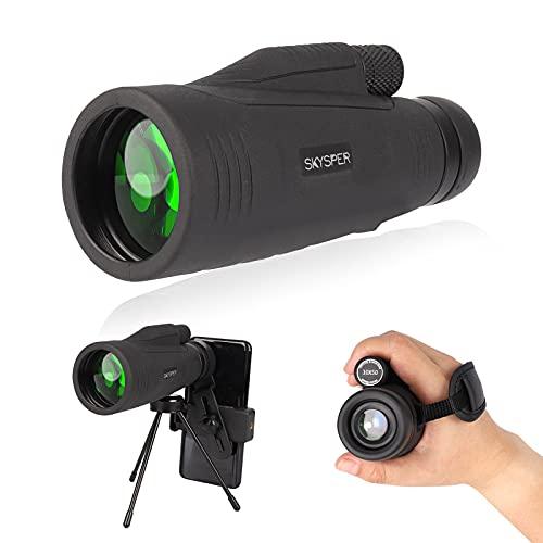 SKYSPER Telescopio Monocular 10x50 HD Impermeable con Trípode y Soporte para Teléfono Prismas BAK4 y FMC Visión Nocturna para Observación de Aves, Senderismo, Concierto, Viaje, Caza, Partido Fútbol