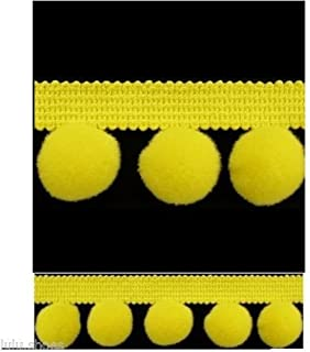 HomeBuy XL Pom Pom Bobble Trim Fringe Trimming - XL Size 2Cm (0.8 Inches) (Per Metre) 20 Colours C (Yellow)