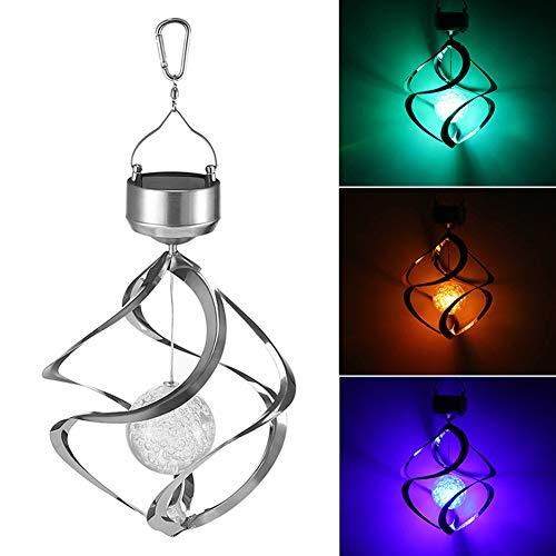 NBSXR wasserdichte Spirale Solar Windspiel Licht, umweltfreundlich und energieeffizient, 7 Bunte LED Farbe hängende Windlicht, für Garten Hof Rasen Balkon
