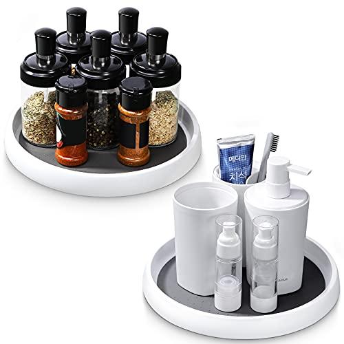 2 Especiero Giratorio Cocina organizador giratorio de cocina estanteria especias soporte giratorio para condimentos Plato giratorio de plástico Especiero para recipientes condimentos tarros