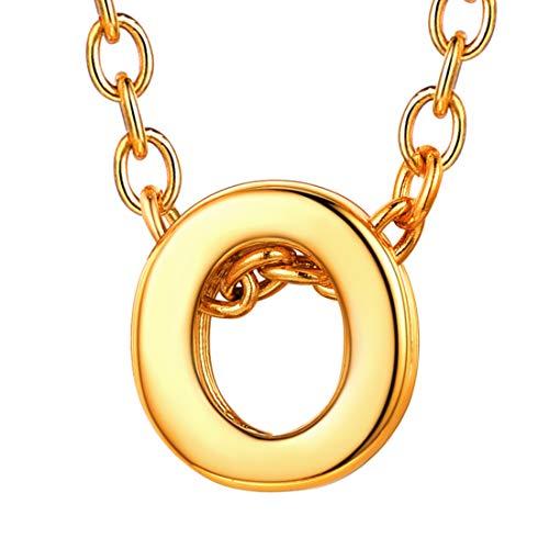 U7 イニシャルネックレスO レディース 18金メッキ ゴールド ペアネックレス シンプル 小さめ 鏡面 おしゃれ 大人可愛い アクセサリー 母の日プレゼント