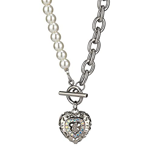 Collar De Amor De Acero De Titanio AB Corazón De Melocotón Hueco A Hebilla Hembra 2021 Cadena De Suéter Corto De Doble Perla