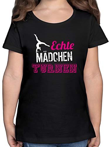 Sport Kind - Echte Mädchen Turnen - 140 (9/11 Jahre) - Schwarz - echte mädchen Turnen - F131K - Mädchen Kinder T-Shirt