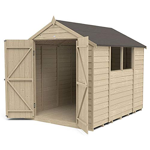 Forest Garden Overlap Pressure Treated 8x6 Apex Shed - Double Door