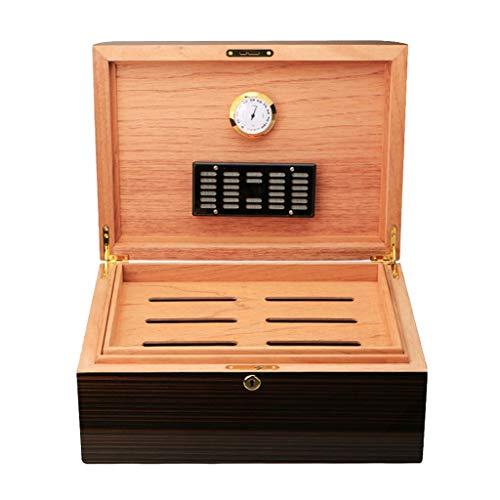 Rangements 100 humidificateurs à cigares Humidificateur Cedarwood Boîte de rangement pour cigares Boîte à cigares Équipé d'un humidificateur et d'un thermomètre ( Color : Brown , Size : 37*27.5*16cm )