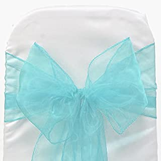 Mds 100 Pieces Terquoise Blue Organza Organza chair sashes bow Sash for wedding and Events Supplies Party Decoration chair cover sash