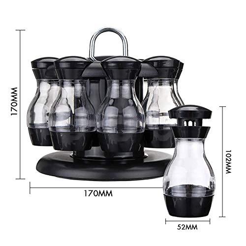 8 plastic flessen met 360 ° roterende houder Zout Peper Shaker Set Olie Azijn Dispenser Set Zout Peper Shakers Keuken Organizer Gereedschap