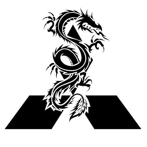DSRLO Autoaufkleber 16,5 cm * 14,7 cm 4X4 Reserveradabdeckung Grafik Dragon Vinyl Auto-Styling Aufkleber Autoaufkleber Schwarz/Silber