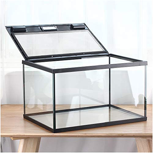 crapelles Reptile Terrarium Glass Box Large Metal Ventilation net Door for Reptile Amphibians Insect Waterproof Ventilation Transparency Clearly Visible Inside Advanced Feeder