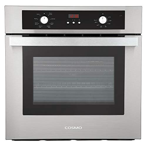 Cosmo C51EIX Electric Built-In Wall Oven with 2.5 cu. ft. Capacity, Turbo True European Convection, 8 Functions, Push Button Knobs, in Stainless Steel, 24 inch