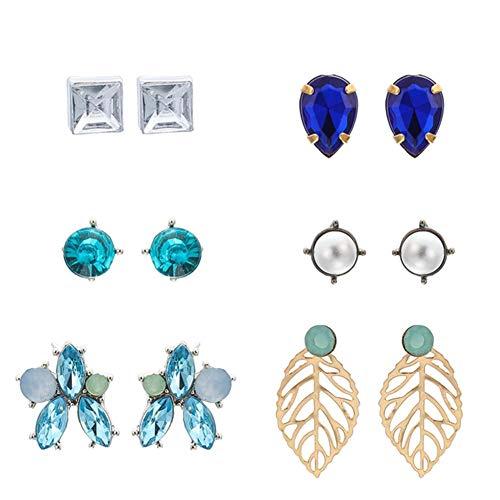 6 pares de pendientes de tuerca de perlas de piedra preciosa con diamantes de imitación vintage