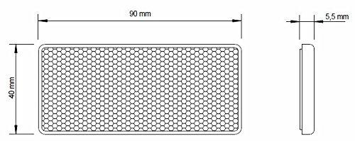 10er - Set I Rückstrahler, Seitenstrahler, Reflektor selbstklebend (orange rechteckig, 90x40mm) E-Prüfzeichen - 2