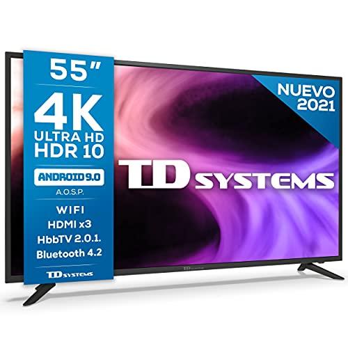 TD Systems K55DLG12US - Televisores Smart TV 55 Pulgadas 4k UHD Android 9.0 y HBBTV, 1500 PCI Hz, 3X HDMI, 2X USB. DVB-T2/C/S2, Modo Hotel. Televisiones