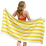 American Soft Linen Cabana Stripe Beach Towel, 30x60 Oversized Beach Towel, Soft, Absorbent, and Quick Dry Quality100% Cotton Turkish Swim Pool Beach Towel, Sunshine Yellow