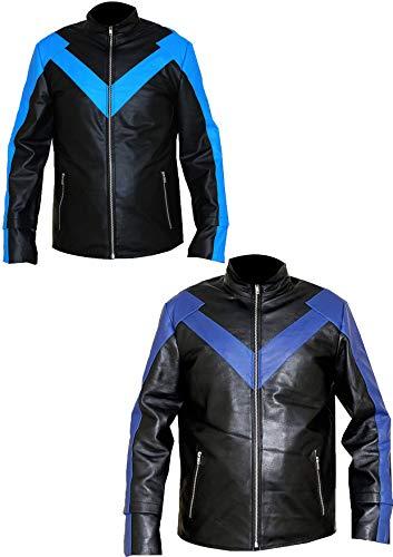 Multi Zipper Biker Racing Chaqueta de Cuero Genuino Rayas Azules Retro Vintage & Night N Wing Super Hero Celebrity Chaqueta de Cuero