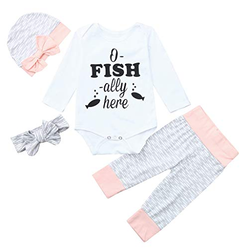 WOCACHI Baby Girls Outfits Set, Infant Baby Letter Print Jumpsuit Romper +Pants+Headband+Hat Clothes Outfit New Born Birth Knitted Rib Boatneck Turtleneck Cute Cartton Patern Blanket u-Neck