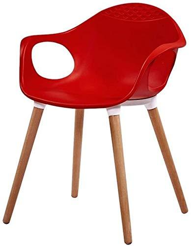 FHW Moderne Stoel, PP Plastic Houten eettafel en stoelen, Buiten/café/office/conferentieruimte stoel (Color : Red, Size : 39x42x75CM)