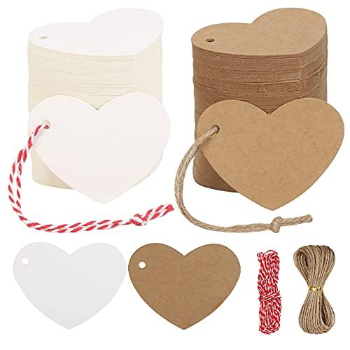 WEDNOK 40pcs Tarjeta de etiqueta en forma de corazón Etiqueta de papel Kraft Etiquetas de regalo de papel con 2 rollos de hilo de yute para regalo de Navidad Cumpleaños Boda Día de San Valentín