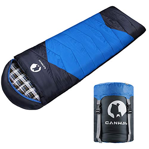 CANWAY Sleeping Bag with Compression Sack, Lightweight and Waterproof for Warm & Cold Weather, Comfort for 4 Seasons Camping/Traveling/Hiking/Backpacking, Adults & Kids (z-Blue-Flannel)