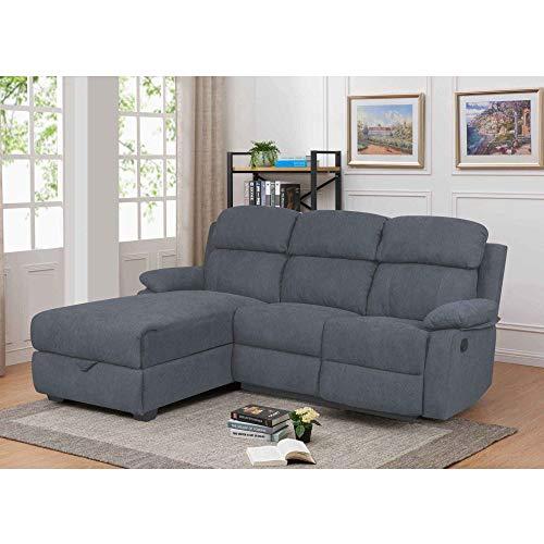 DecoInParis Relax-Sofa mit Ottomane und Aufbewahrungsbox, aus Stoff, Keaton - Winkel Links