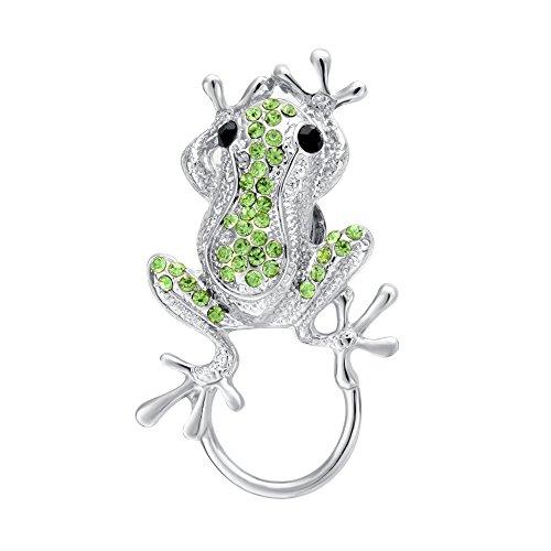 SENFAI 3 Colors Frog Magnetic Clip Holder Magnetic Eyeglass Holder Brooch Jewelry (Green, rhodium-plated-base-metal)