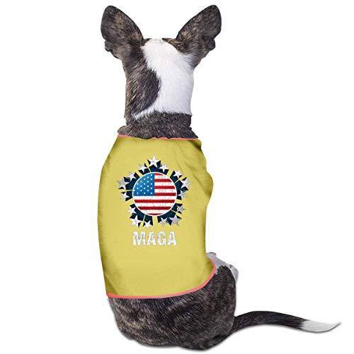 Florasun MAGA - Vestiti per cani e gatti di piccola taglia, con bandiera americana, colore: Giallo-L