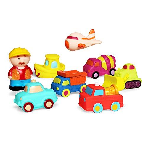 JUNSHEN Schwimmendes Badespielzeug Set(8 PCS),Badefahrzeug Spielzeug,Badewanne weiches Automobil Spielzeug Schwimmend Lastwagen Badespaß Zeit Großes Geschenk für Baby