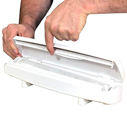 YUIO Plastikfolie/Konservierungsmittel Filmschneider Spender für Folie oder Frischhaltefolie Küchenzubehör Blöcke Rollbeutel weiß