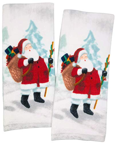 Aspen Home Vintage Santa Claus with Staff & Bag of Presents Christmas Kitchen Towels, Set of 2 Dish Towels for Christmas Kitchen Decor, Christmas Kitchen Dishtowels, Cooking & Baking