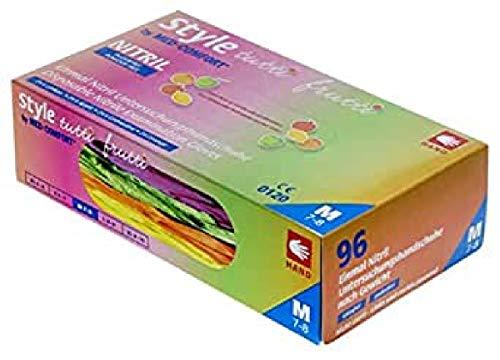Med-Comfort Guantes de nitrilo Style Tutti Frutti, 4 diferentes colores, en una caja, para niños, consulta médica (media)