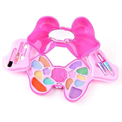 Here Shine Makeup for Little Girls - Girls Real Makeup Kit Cosmetic Set Best Gift Set for Little Girls & Kids Dress-up Play Water-washable CE Approved Age 5+, Pink Bowknot Vanity Case