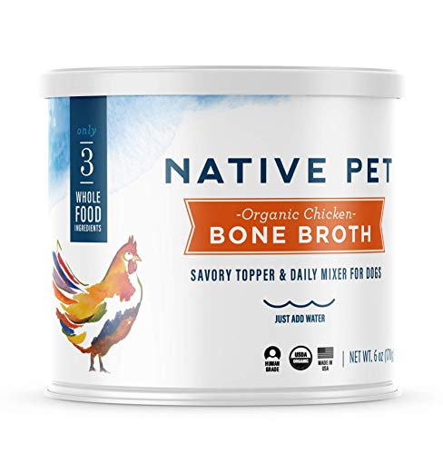 Native Pet Organic Bone Broth for Dogs and Cats – Human Grade Protein Powder & Rich Source of Collagen for Dogs – Food Mixer and Topper with Chicken and Sweet Potato (6oz)