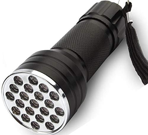 Linterna UV Luz negra, 395nm 21 LED Ultravioleta ultravioleta Luz de antorcha de mano para perros, Manchas de mascotas, Chinches, Escorpiones