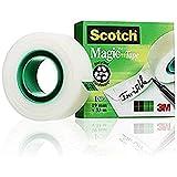 Scotch Magic Type Nastro Adesivo 3M Trasparente Inscrivibile, Finitura Opaca, Invisibile su Carta, 19 x 33 mm, Tradizionale, 1 Pezzo