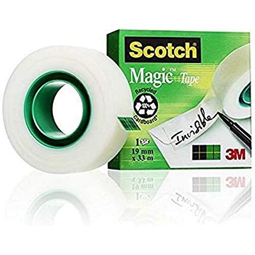 Scotch Magic Klebeband – 1 Roll 19mm x 33m - Transparenter & matter Klebefilm für den alltäglichen Gebrauch