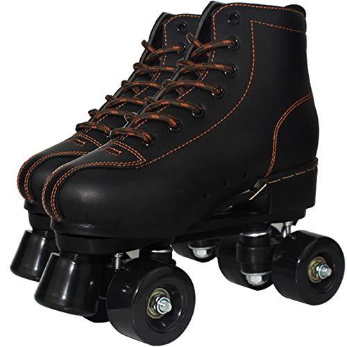Xbshmw Leder Rollschuhe, Kinder Rollschuh Set, Outdoor Erwachsene Männer und Frauen Schwarz Zweireihige Rollschuhe mit 4 Rädern,Black Wheel,43