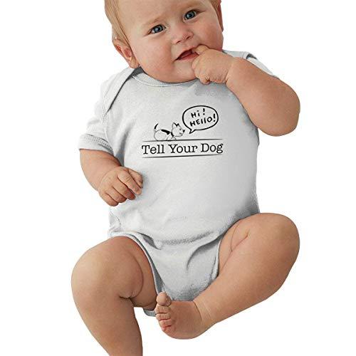 Lplpol Tell Your Dog Hi Hello Einteiler aus Baumwolle, kurzärmelig, für Baby Mädchen, Ne796 Gr. 80, weiß