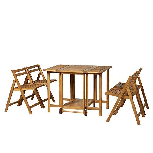 Outsunny 5-TLG. Sitzgarnitur Gartensitzgruppe Esstischgruppe Gartenmöbel klappbar 1 Tisch + 4 Stühle Akazienholz Natur 100,5 x 82 x 75 cm