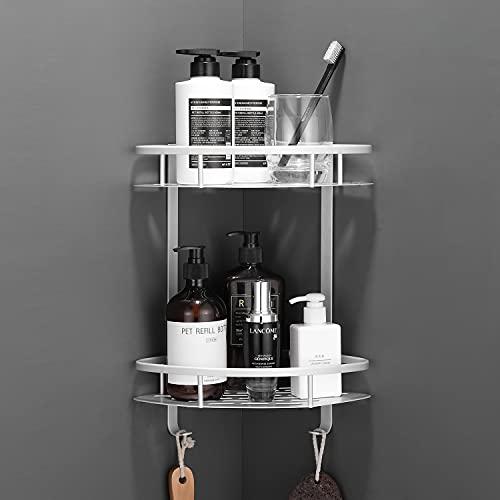 Flowmist Shower Caddy Corner Shelf, 2 Tiers Shower Organizer, No Drilling Wall Mounted Aluminum Adhesive Shower Shelf, Storage Rack for Toilet, Shampoo, Dorm and Kitchen (Silver-1)