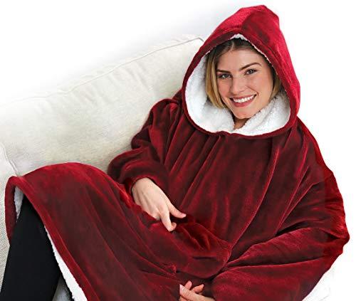 Mediashop Fleecio Kuschel Hoodie | Kombination aus Flausch-Pullover und Kuscheldecke | 80x128cm inkl. Kapuze | Baumwoll-Fleece |Das Original aus dem TV (rot)