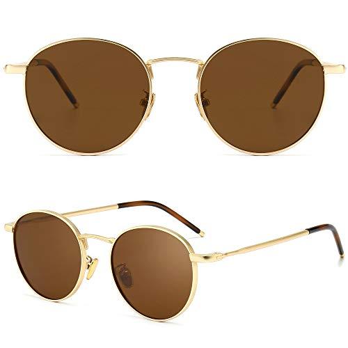 SUNGAIT Gafas de Sol Polarizadas Vintage Redondas Marco de Metal Retro Clásica Gafas de Sol Circular para Mujer Hombre-SGT059(Marco Oro / Lente Polarizada Marrón)