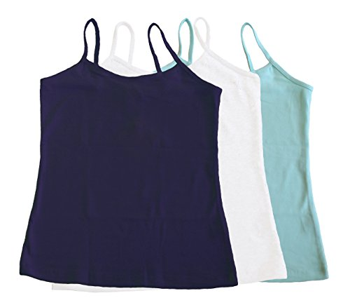 Pout N' Sprout 3pk Girls Classic Knit Camisoles Tank Tops 7-12yrs (8)
