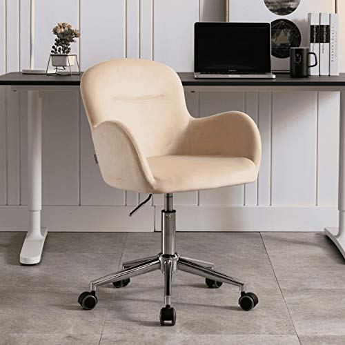 Velvet Accent Chair, Adjustable Swivel Armchair, Desk Chair, Makeup Chair with Casters, Beige