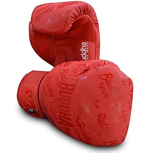 Buddha Fight Wear. Guanti da allenamento e combattimento, edizione speciale, realizzati a mano, Boxe, Muay Thai, Kick Boxing e MMA Modello Top Premium Rosso Opaco 16 oz